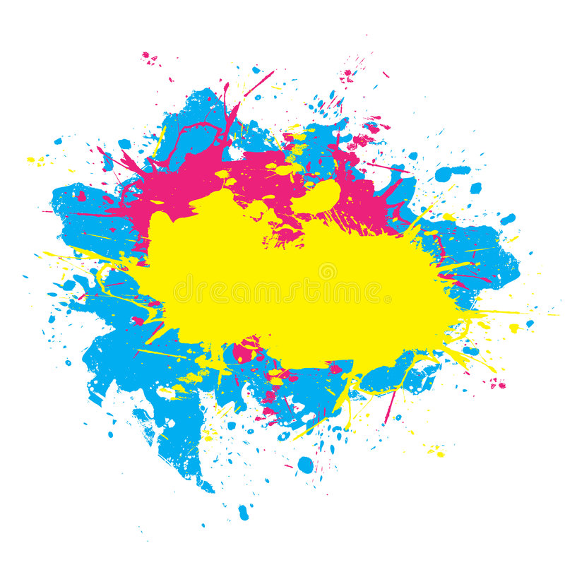 Colorful Splattered Paint. Abstract paint splatter elements in a cmyk color scheme. This vector element is fully editable vector illustration