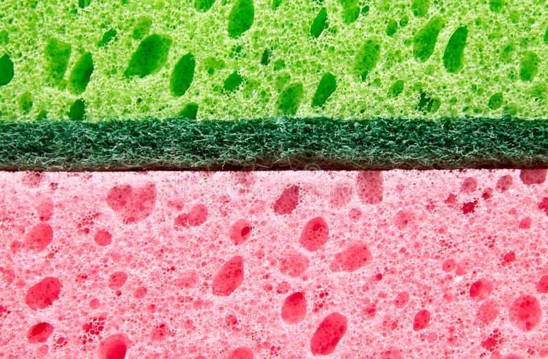 Colorful sponges texture closeup. Green, pink royalty free stock image