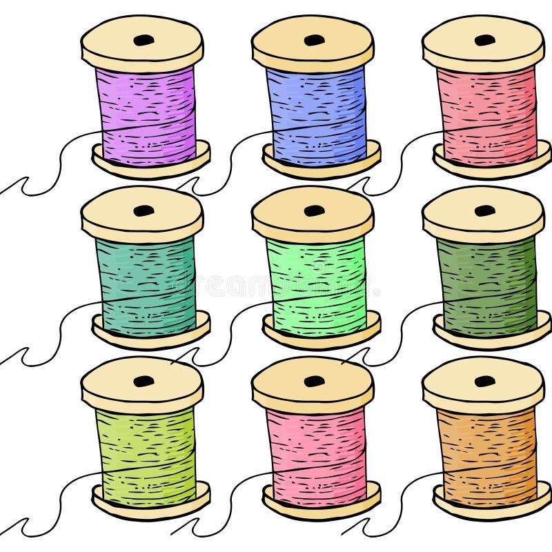 Colorful spools of thread. stock illustration