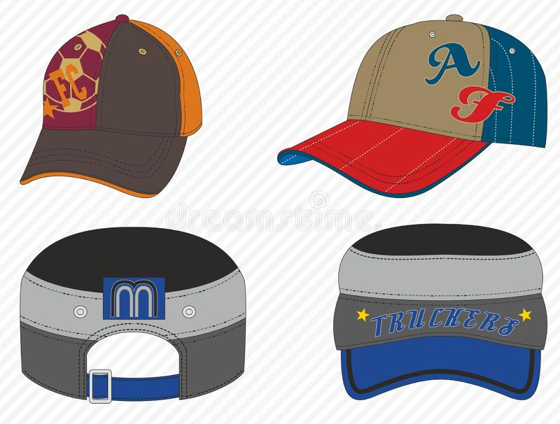 Colorful sport caps. Men accesories, women fashion, headwear, sportive hat. Baseball cap. - Vector stock illustration