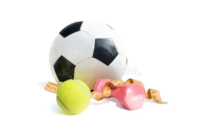Colorful sport equipment isolated on white background royalty free stock image