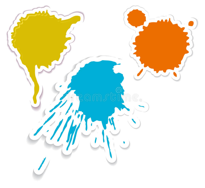 Colorful spots and spatters as stickers stock illustration