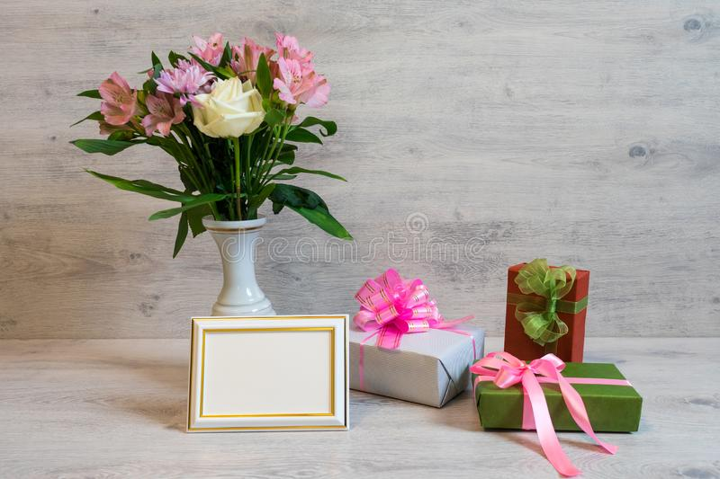 Colorful spring bouquet of rose, chrysanthemum and alstroemeria royalty free stock photo