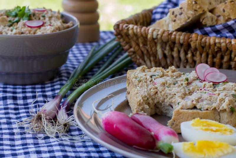 Colorful spring breakfast – whole grain bread, tuna spread, ra royalty free stock image
