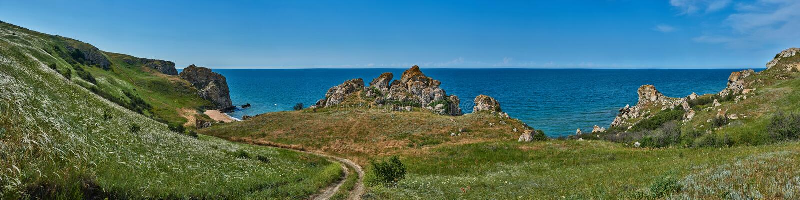 Azov sea, Crimea, Generalov`s beach royalty free stock image
