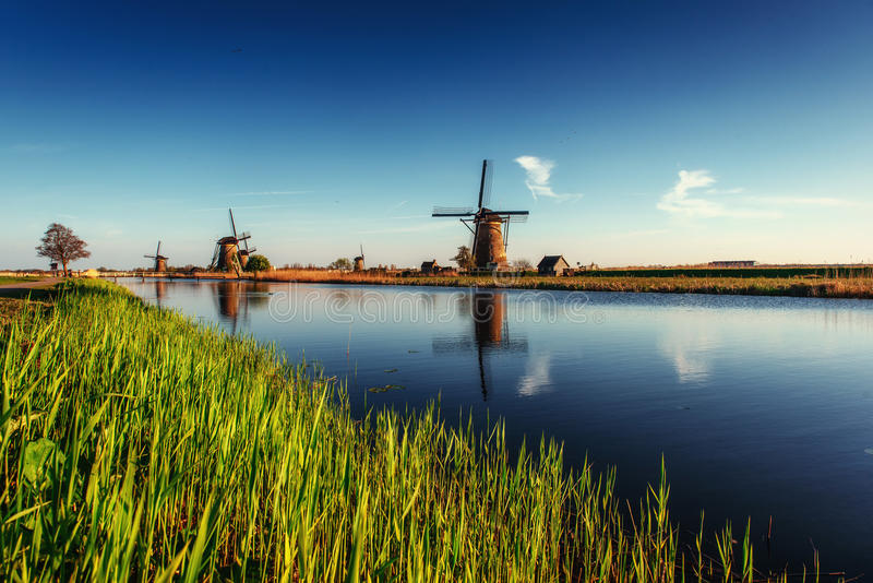 Colorful spring day with traditional Dutch windmills canal in Ro. Tterdam. Wooden pier near the lake shore. Holland. Netherlands royalty free stock image