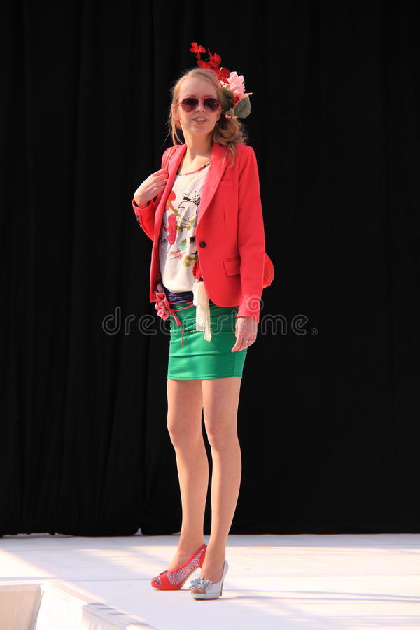 Colorful spring fashion catwalk