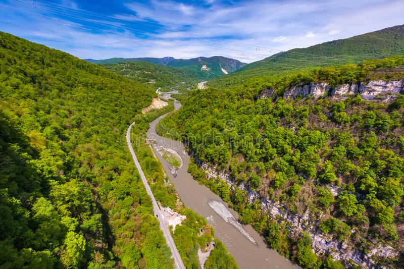 Mountain valley on the way to Krasnaya Polyana from Adler, Sochi, Russia. royalty free stock image