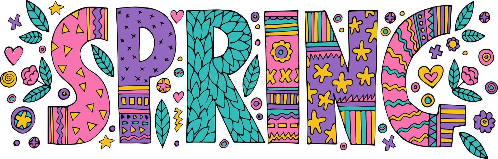 Colorful Spring lettering royalty free illustration