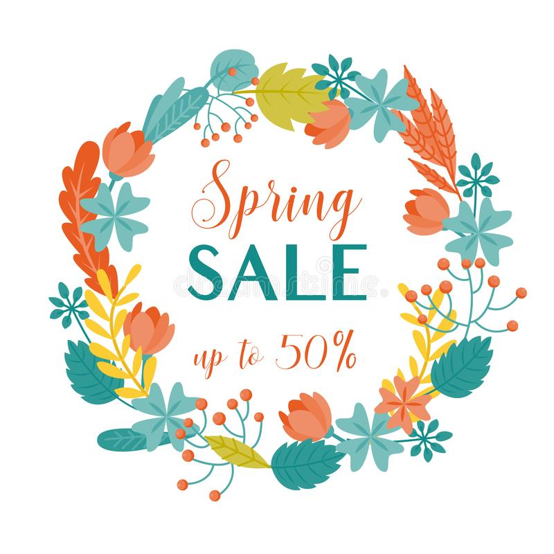 Colorful spring sale banner with floral wreath royalty free stock photography