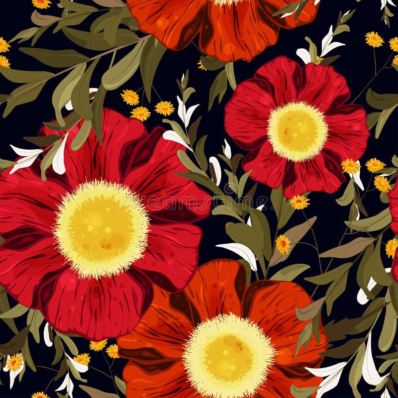Colorful spring seamless wallpaper with cute red and orange flowers. Vector hand drawn illustration set. Retro watercolour style royalty free illustration