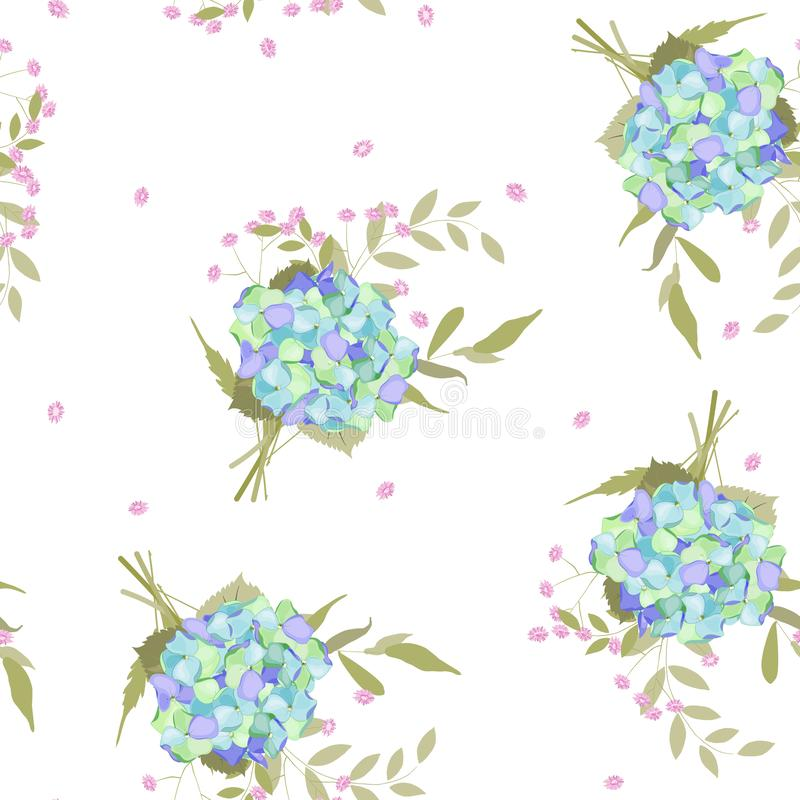 Colorful spring seamless wallpaper with hydrangea flowers. Vector hand drawn illustration set. Retro watercolour style floral vector illustration