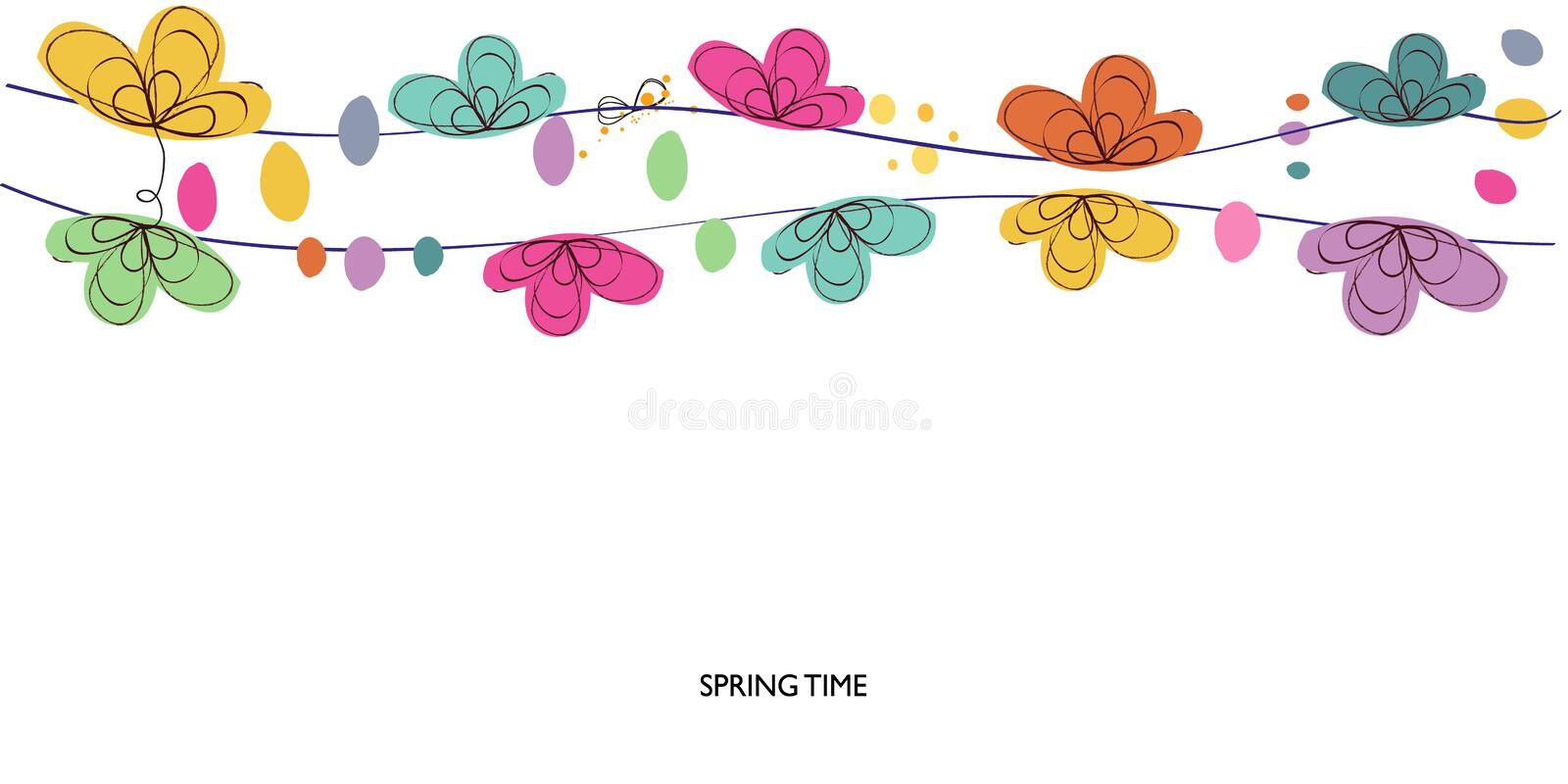 Colorful spring and summer time decorative floral abstract border vector background. Colorful spring and summer time decorative floral abstract border vector stock illustration