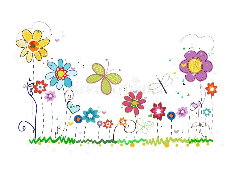Colorful spring summer time flowers. Doodle floral greeting card royalty free illustration