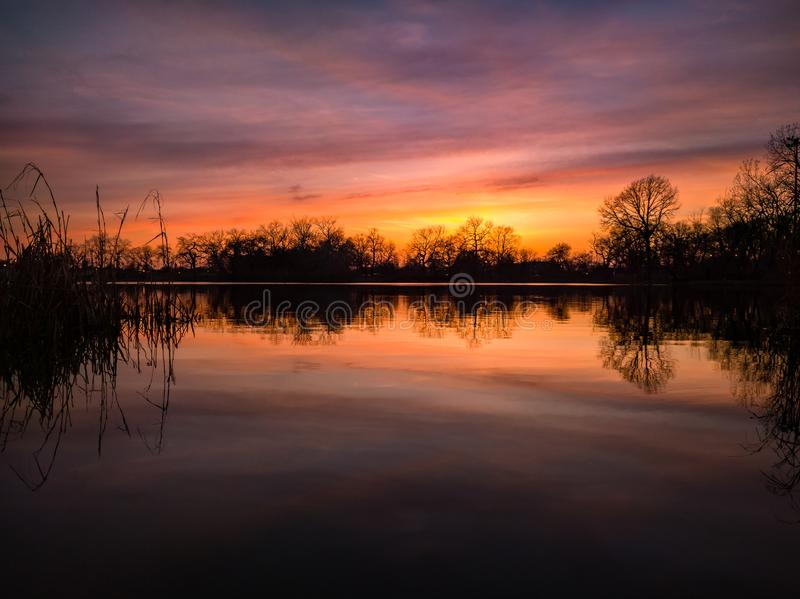 Spring Sunset. Humboldt Park Lagoon. stock images