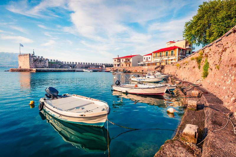 Colorful spring view of the Nafpaktos port. Fantastic morning scene of the Gulf of Corinth, Greece, Europe. Beauty of countryside. Concept background. Beauty of stock image
