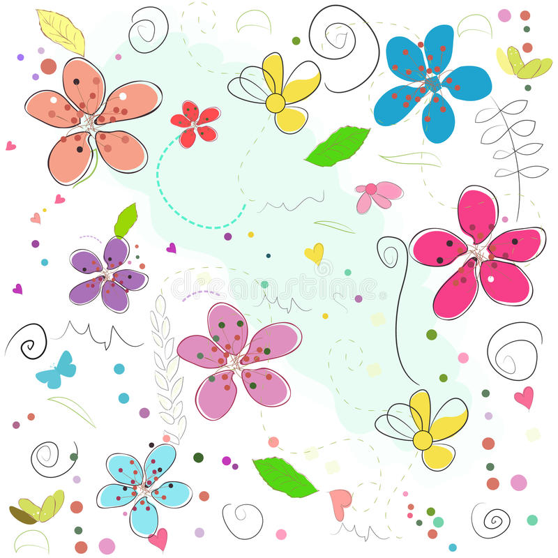 Colorful springtime abstract doodle flowers vector illustration pattern vector illustration