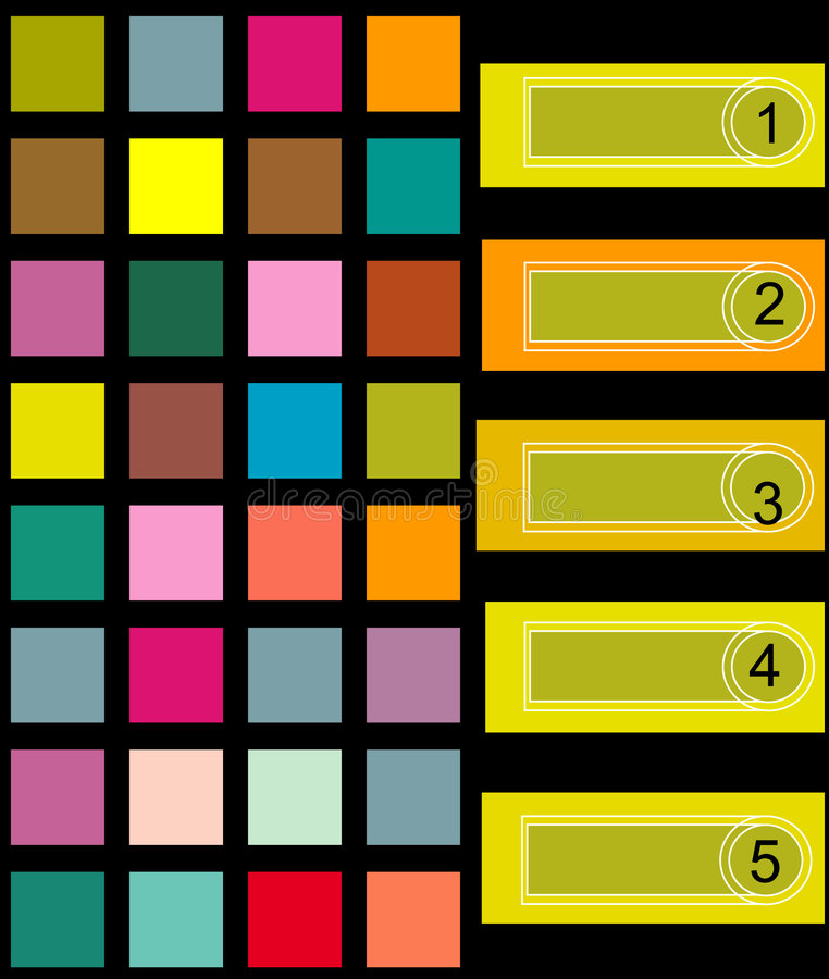 Colorful square background. Illustrated vector format background of colorful squares and numbered rectangle boxes for planning or notebooks vector illustration
