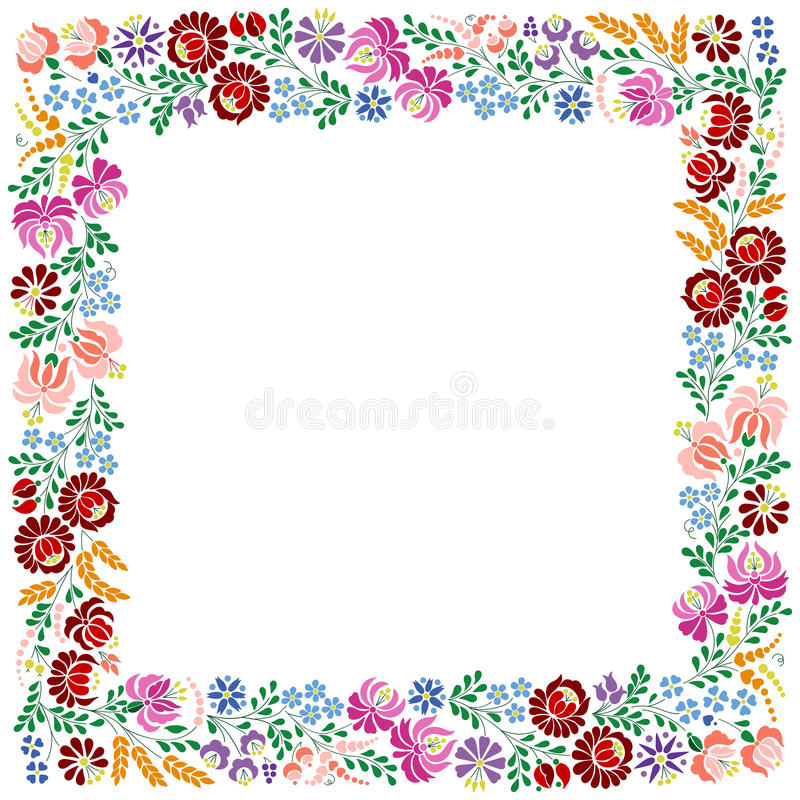 Colorful square frame made from Hungarian embroidery pattern royalty free illustration