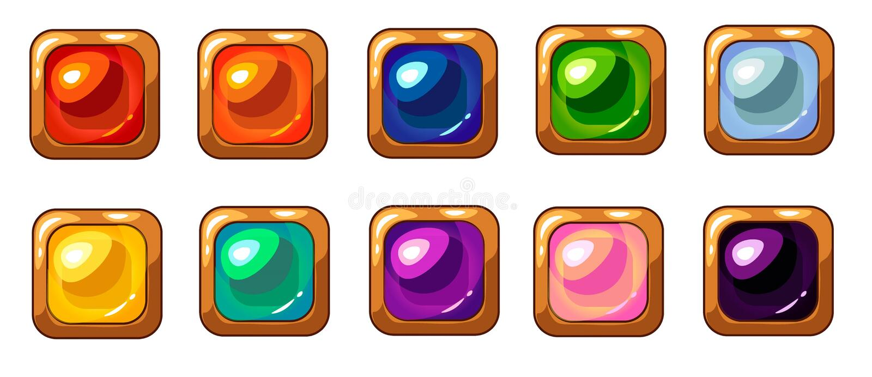 Colorful square gem with golden frame set for mobile game interface design. royalty free illustration