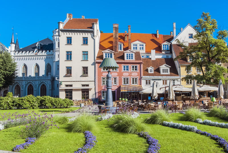 Colorful square in old Riga city, Latvia, Europe stock photo