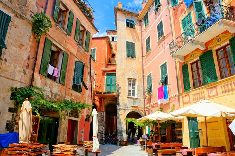 Colorful square in the Cinque Terre village of Monterosso, Italy royalty free stock photo