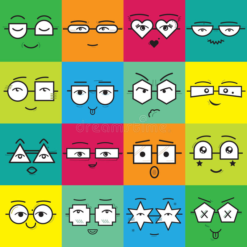 Colorful square stickers emoticons faces with geometrical eyeglasses icons set stock illustration