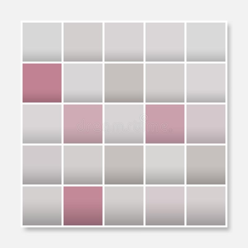 Colorful squares background frame, block soft pastel grey pink vector illustration
