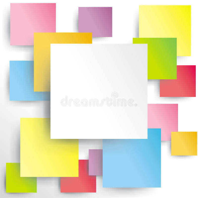 Colorful squares on white paper with shadow vector illustration