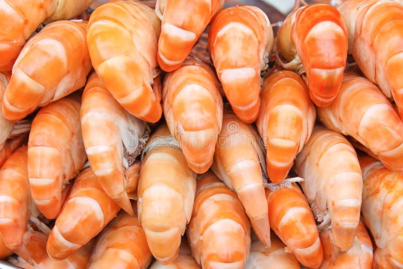 Colorful stack back of steamed shrimp texture natural food patterns for background stock image