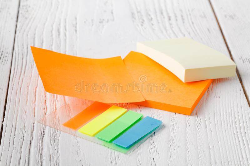 Colorful stack of sticky notes. Macro closeup.post note, note pad stock image