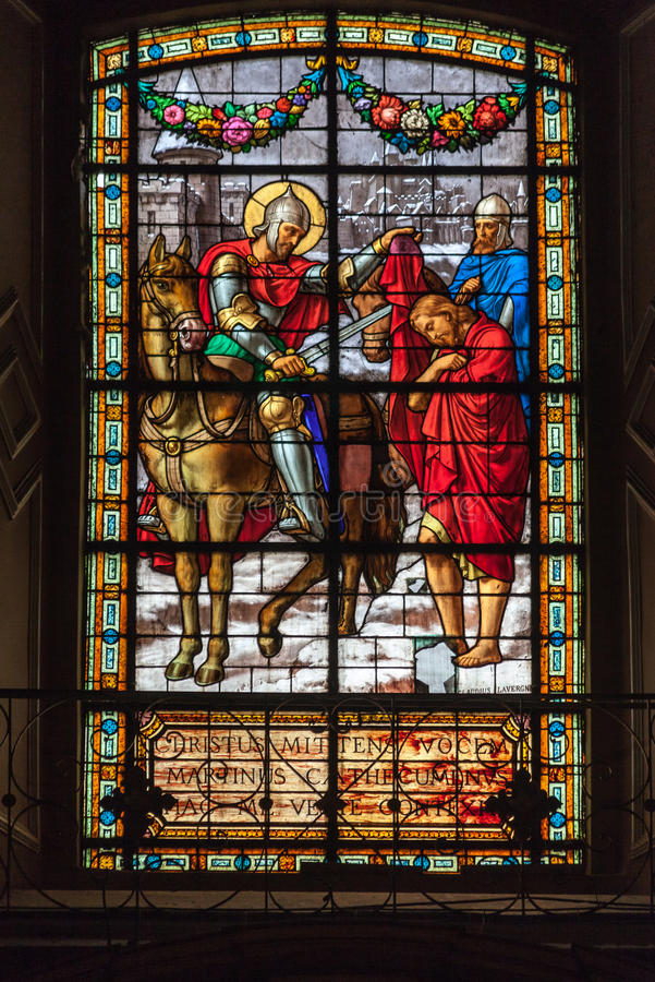 Buenos Aires Cathedral. A colorful stained glass with a religious painting inside Buenos Aires Cathedral, Argentina stock photography