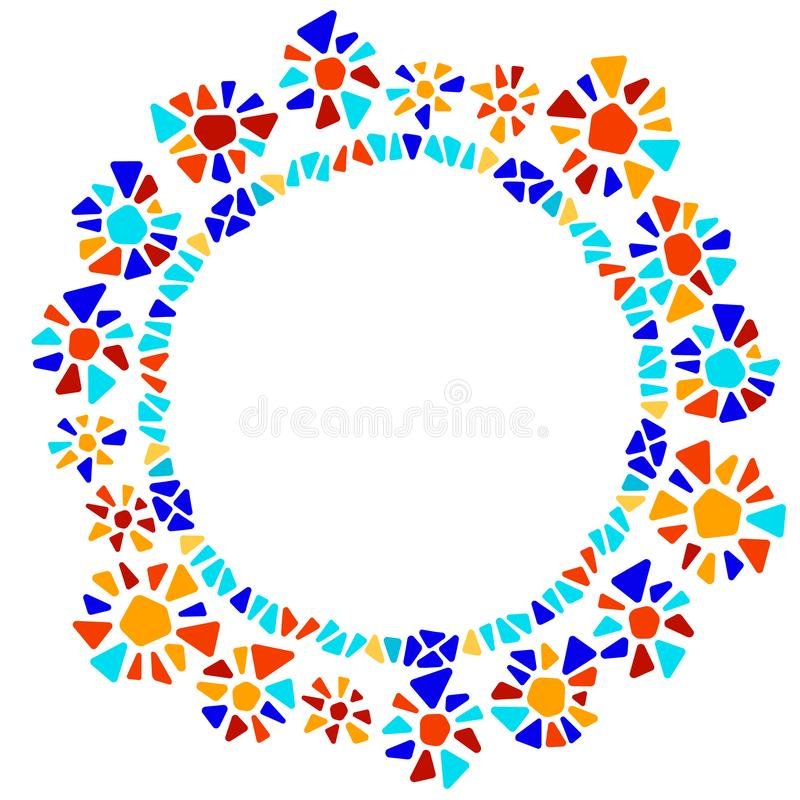 Colorful stained glass triangle shape flowers wreath mosaic geometric round frame, vector vector illustration