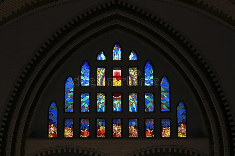 Colorful Stained glass window at St Marys Cathedral in Yangon Myanmar Asia royalty free illustration