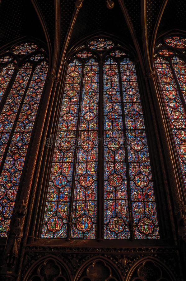 Download Colorful Stained Glass Windows At The Gothic Sainte Chapelle Church In Paris Editorial