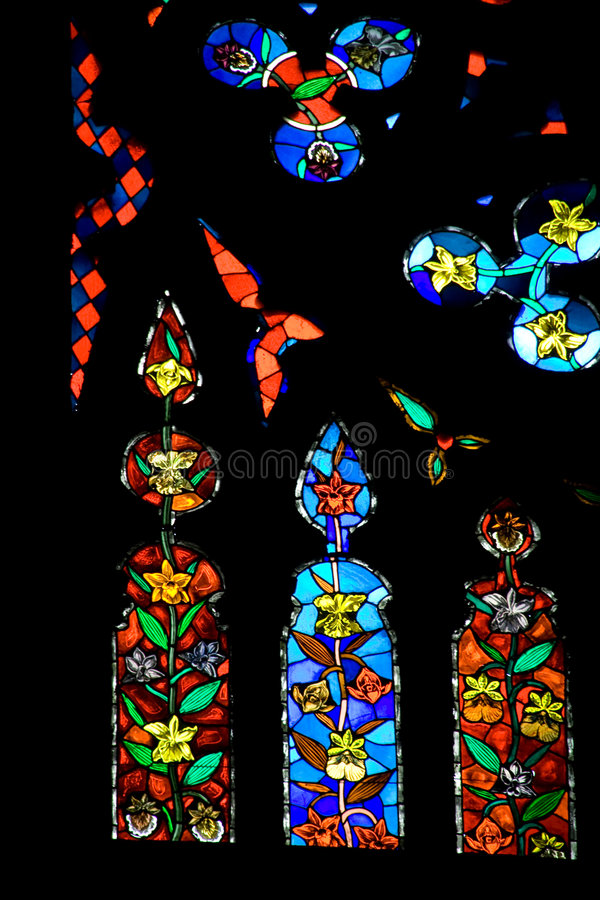 Colorful stained window stock images