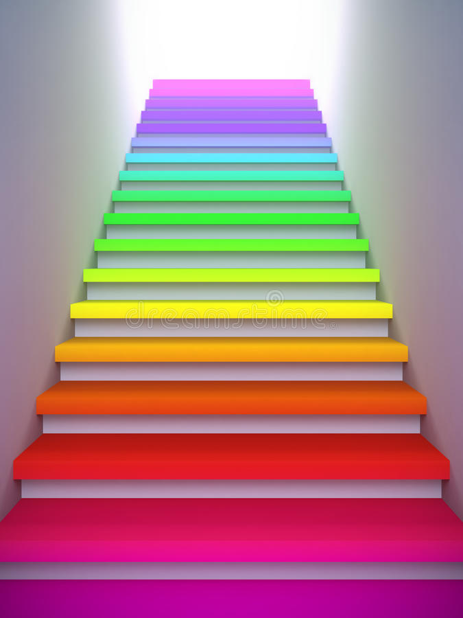 Colorful Stair To The Future. Stock Photo