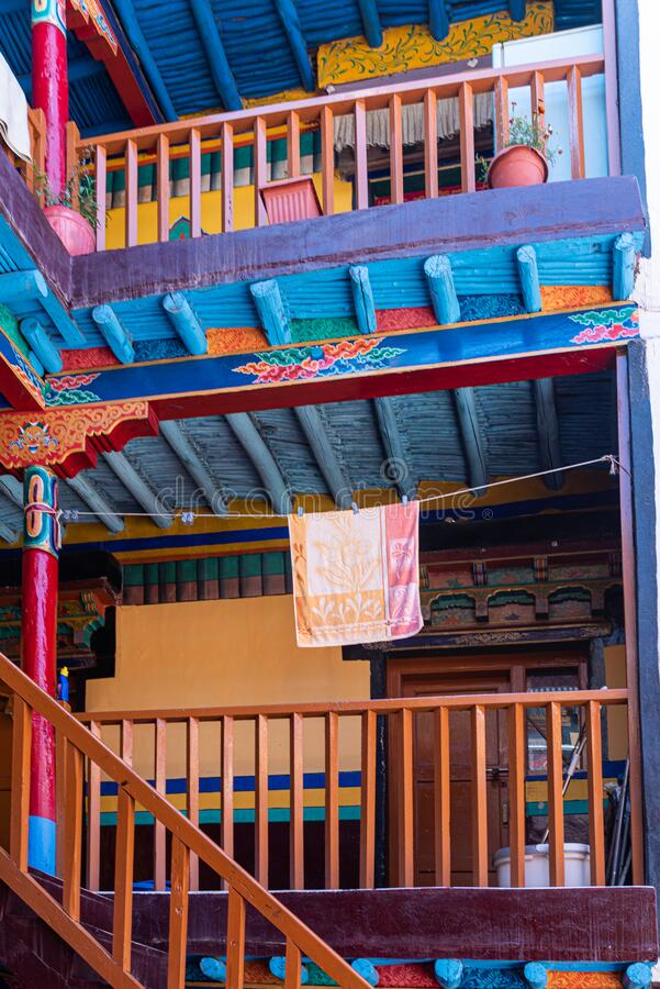 Colorful stairs in a monastery of Ladakh stock photo