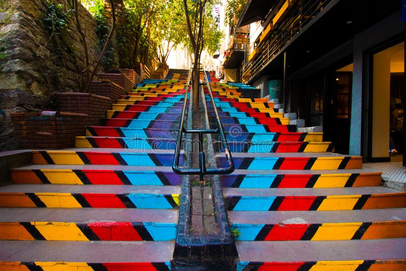 Istanbul, Karakoy / Turkey 04.04.2019: Colorful stairs, Street Art and Life Concept royalty free stock photo