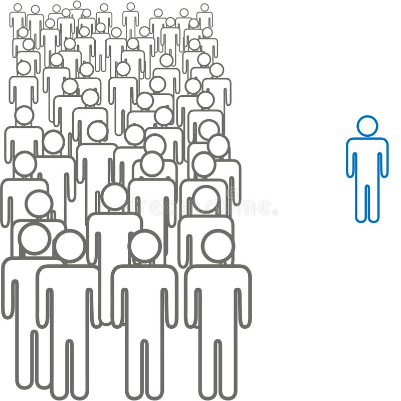 Colorful standout outside crowd symbol people royalty free illustration