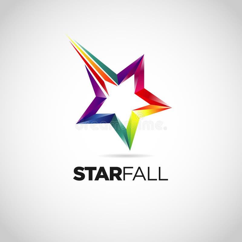 Colorful Star Fall Logo Design Symbol stock illustration
