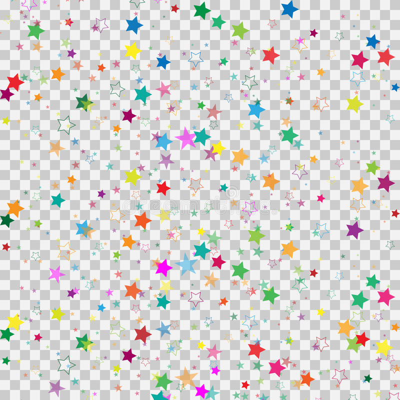 Colorful star isolated on transparent background. Confetti celebration.Falling stars abstract decoration for party, birthday celeb. Colorful star isolated on stock illustration
