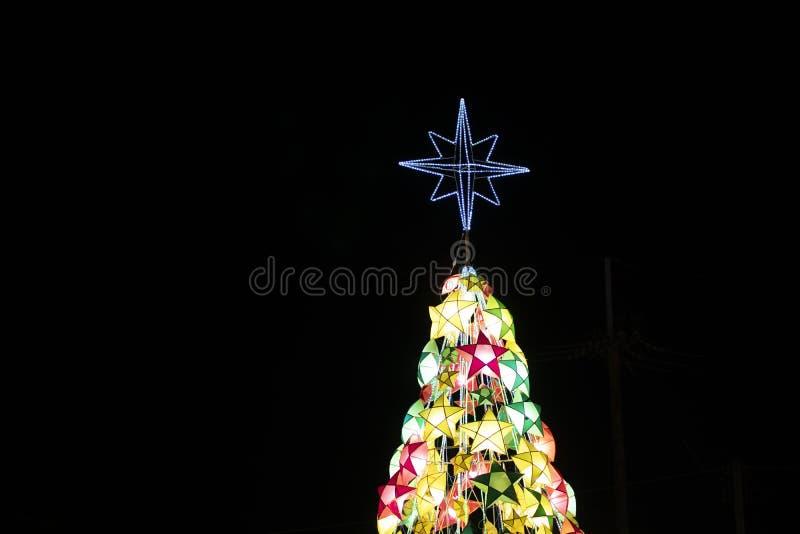 Star shaped Christmas lights. Colorful star shaped Christmas lights stock photo