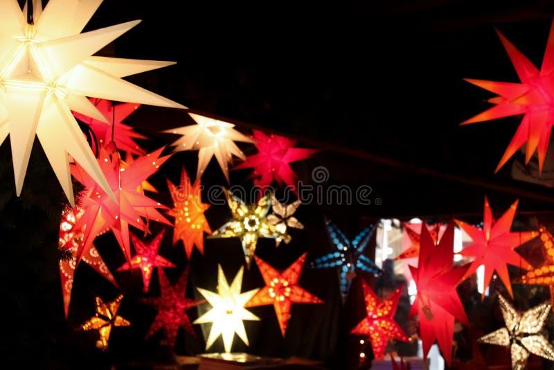 Colorful star shaped lanterns royalty free stock photo