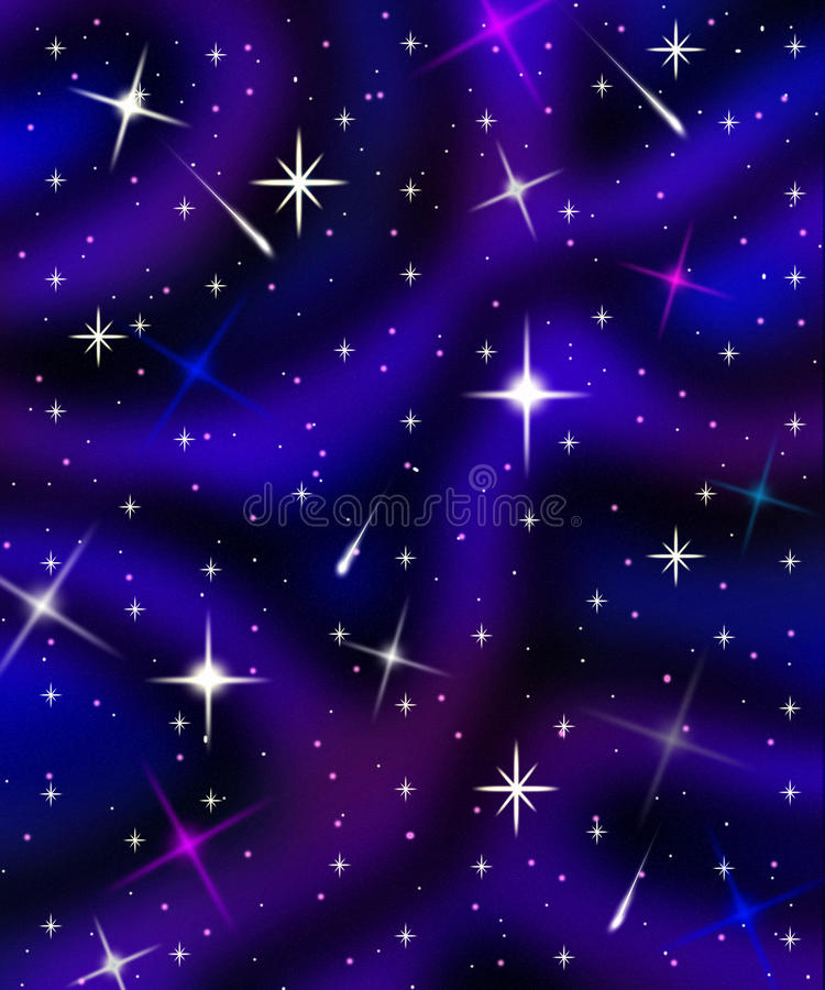 Abstract Starfield With Nebulae Clouds And Meteors Stock Photography
