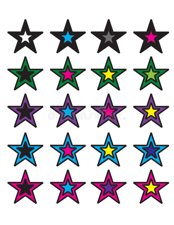 Download Colorful stars stock vector. Image of blue, black, green - 25107242