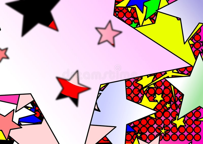Colorful stars and dots stock illustration