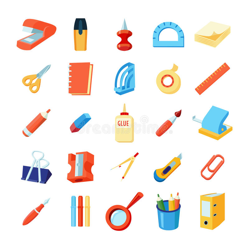 Free Colorful Stationery Icons Set Royalty Free Stock Photo - 80469595