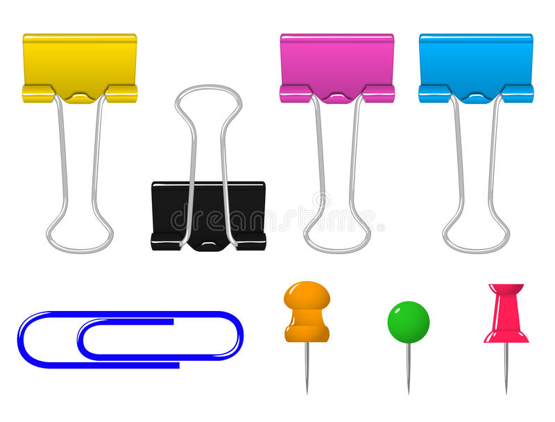 Colorful clamp pin clip stationery set vector illustration