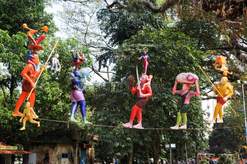 Colorful statues on the central park of Fort Cochin royalty free stock photo